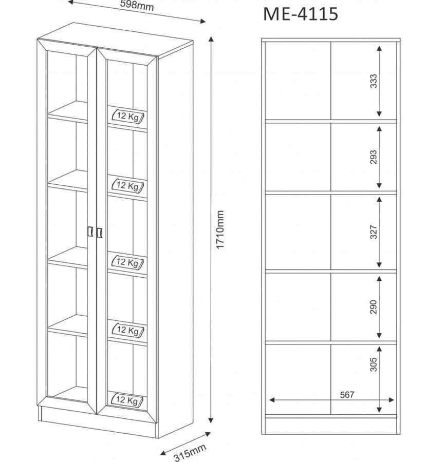 Armário Com Porta De Vidro Carvalho ME4115 Tecno Mobili