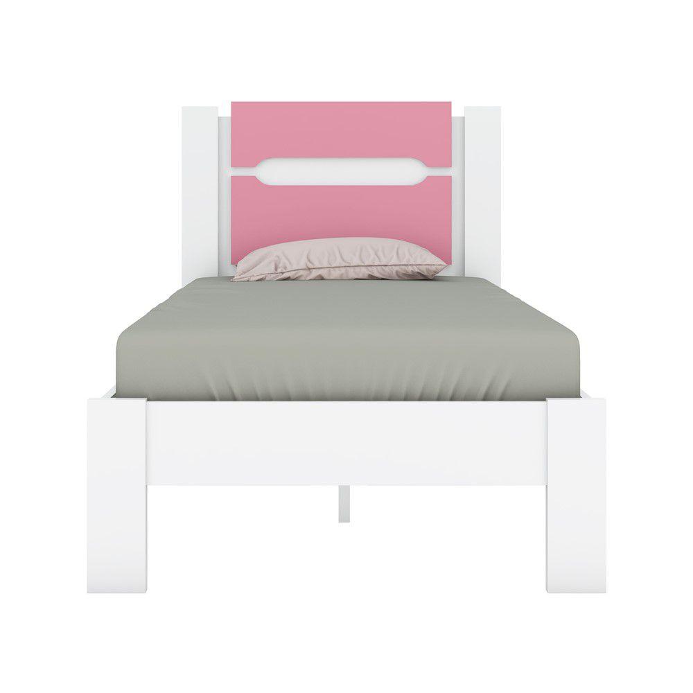 Cama de Solteiro Riviera Branco/Rosa Flex Demóbile