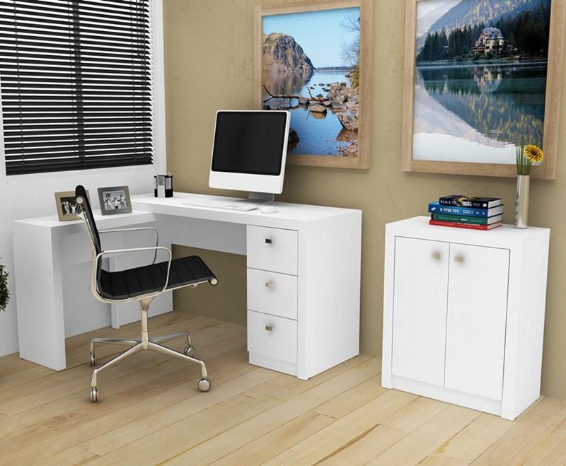 Conjunto de Escritório Escrivaninha De Canto e Balcão Tecnomobili ME 4101 e ME 4103 Branco