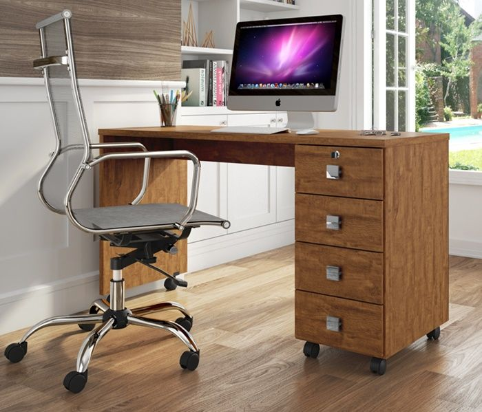 Escrivaninha Office Dubai Amêndoa Lukaliam Móveis
