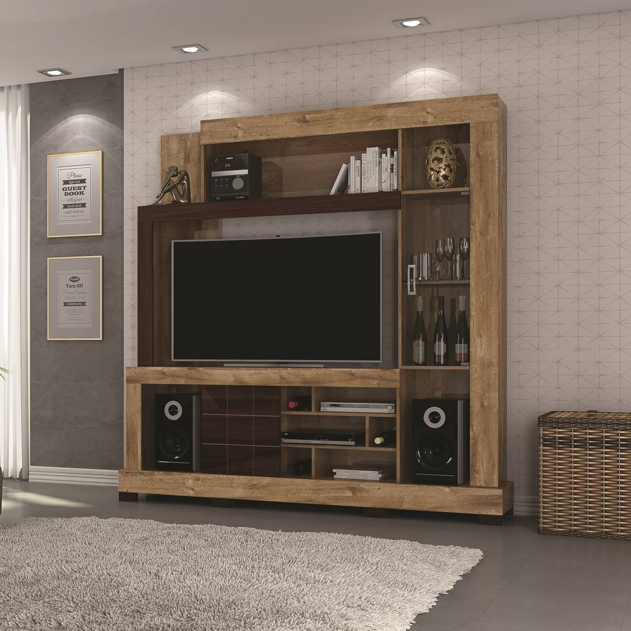 """Estante Home Theater para TV 50"""" c/ porta vidro DJ Móveis Cristal Dorale Brilho / Conhaque Brilho"""