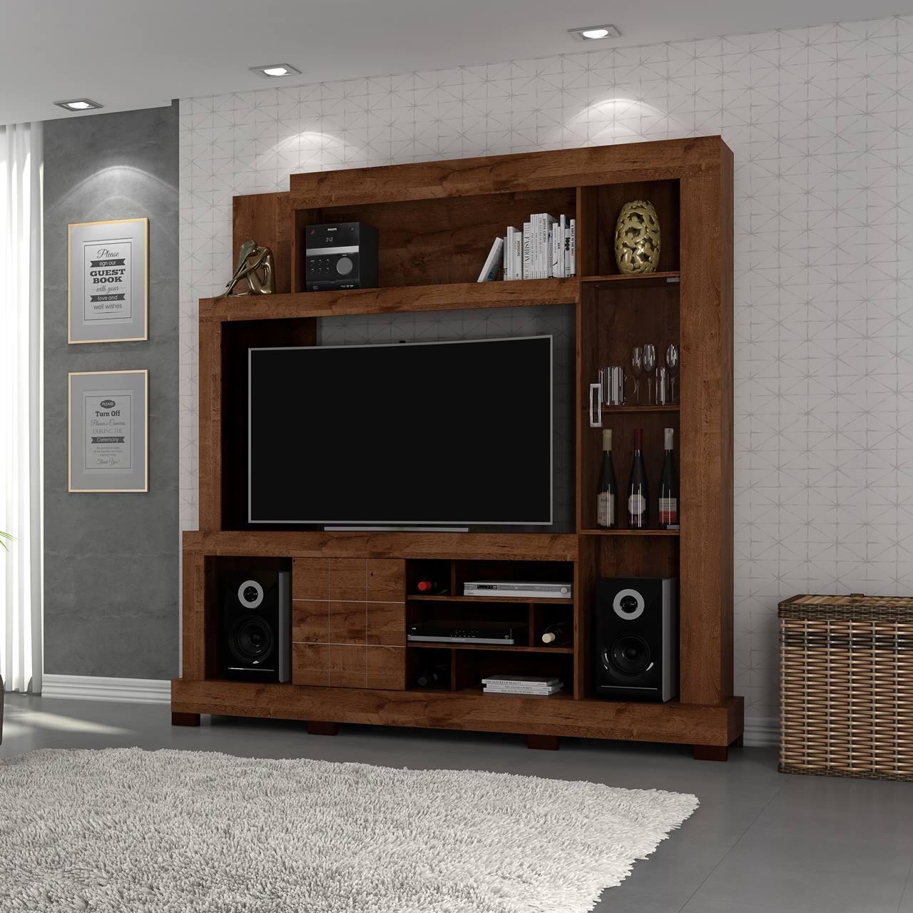 """Estante Home Theater para TV 50"""" c/ porta vidro DJ Móveis Cristal Rústico Malbec"""