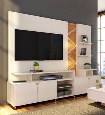 """Home Para TV até 55"""" Cross Off White/Amêndoa Lukaliam Móveis"""
