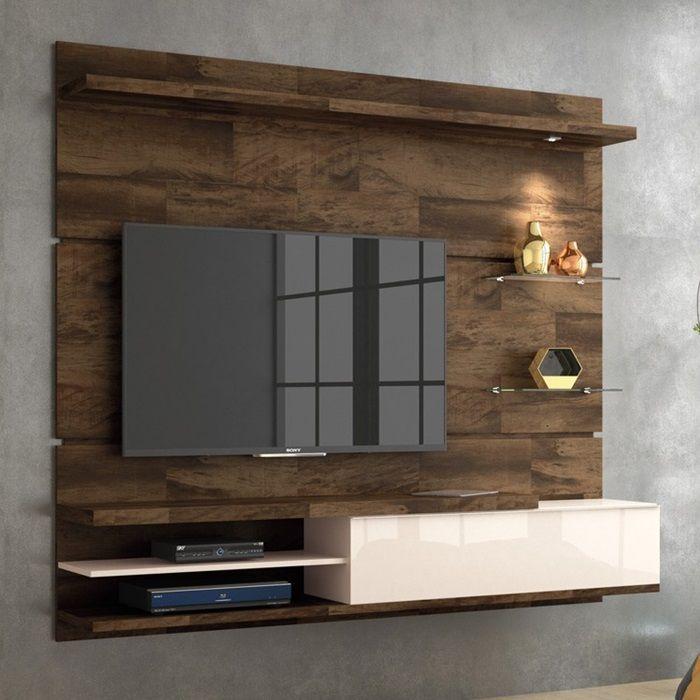 """Home Suspenso para TV 55"""" Deck / Off White DESTAK HB Móveis"""