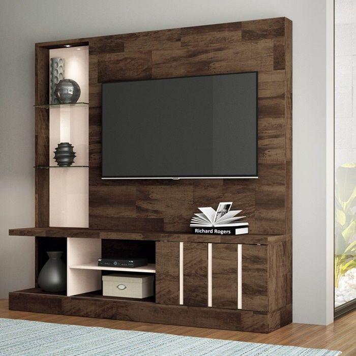 """Home Theater para TV até 50"""" Deck/Off White Eleve- HB Móveis"""