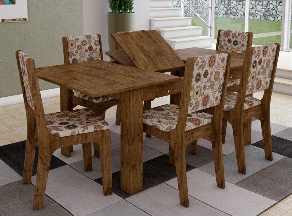 Jogo de Mesa Extensível  TM39 Com 06 Cadeiras CA19 Nobre/Chenille Floral colorido Dalla Costa