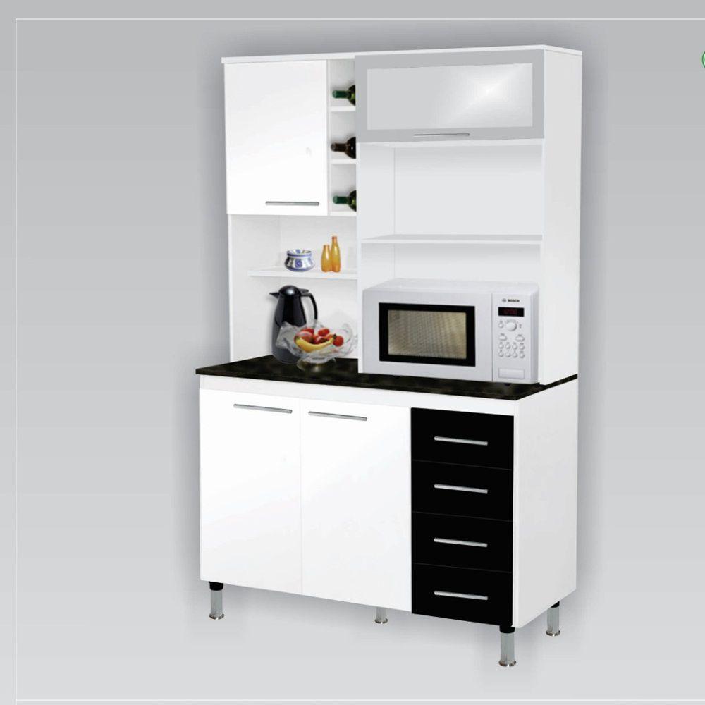 Kit Cozinha 1,20 Lar Branco / Preto