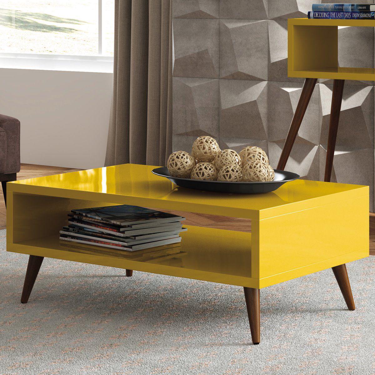 Mesa de Centro Lucy HB Móveis Amarelo