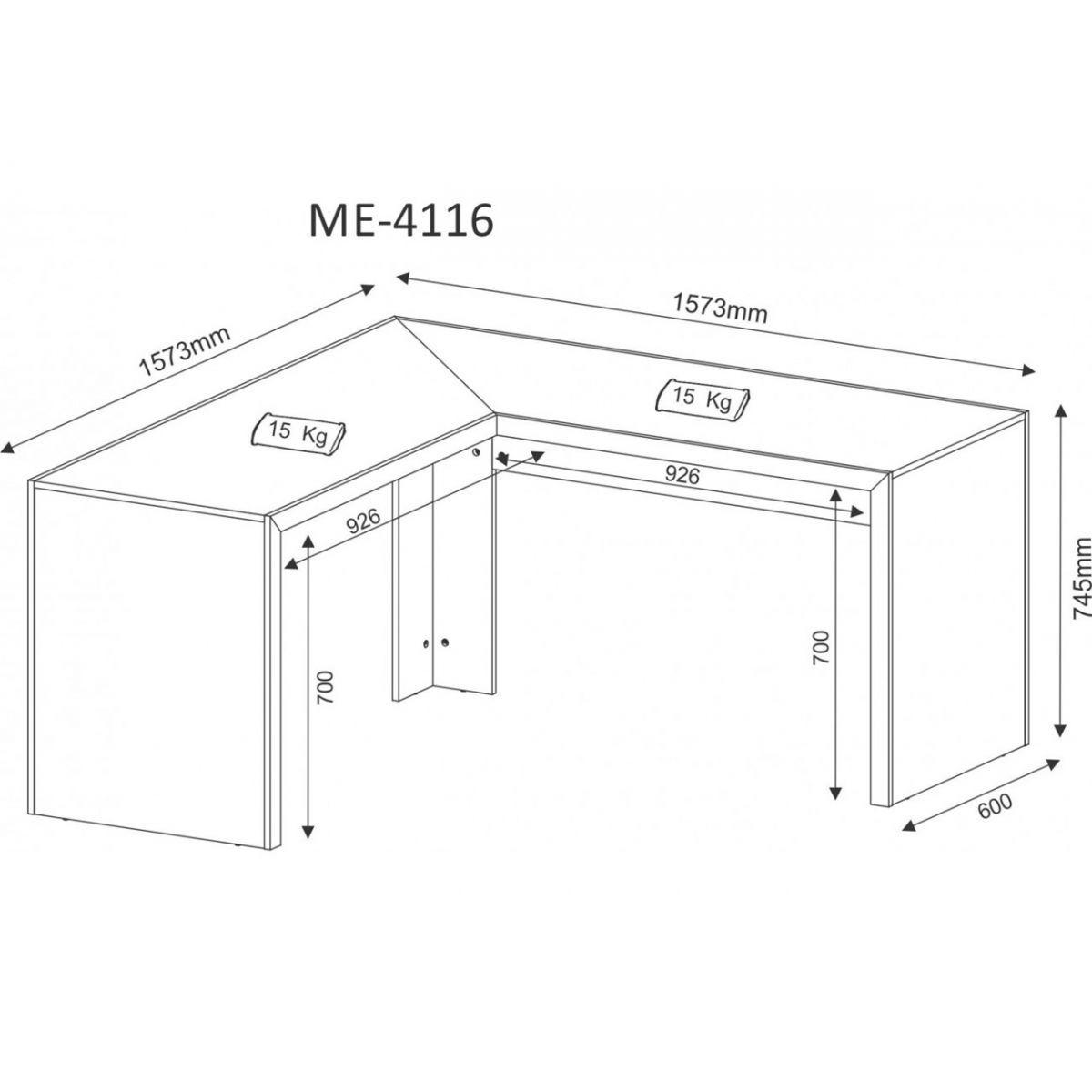 Mesa De Escritório Angular Amêndoa ME4116 Tecno Mobili