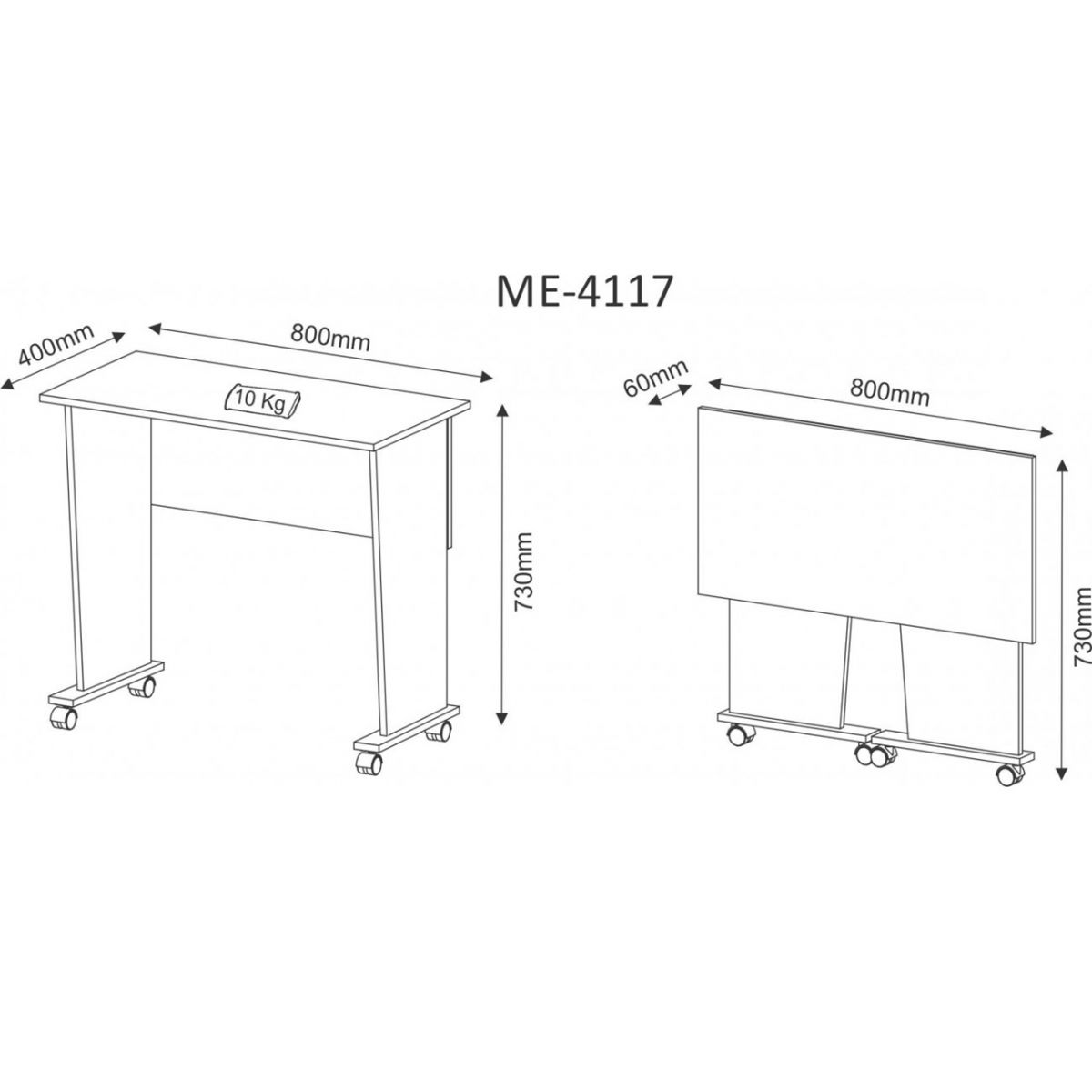 Mesa Dobrável Com Rodizio Branco ME4117 Tecno Mobili