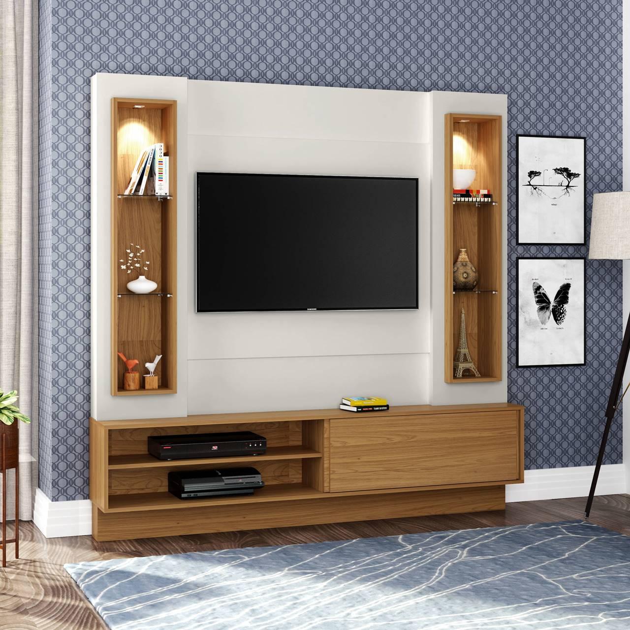 """Painel Home Suspenso p/ TV até 32"""" com LED TB128L Dalla Costa Offwhite/Freijó"""