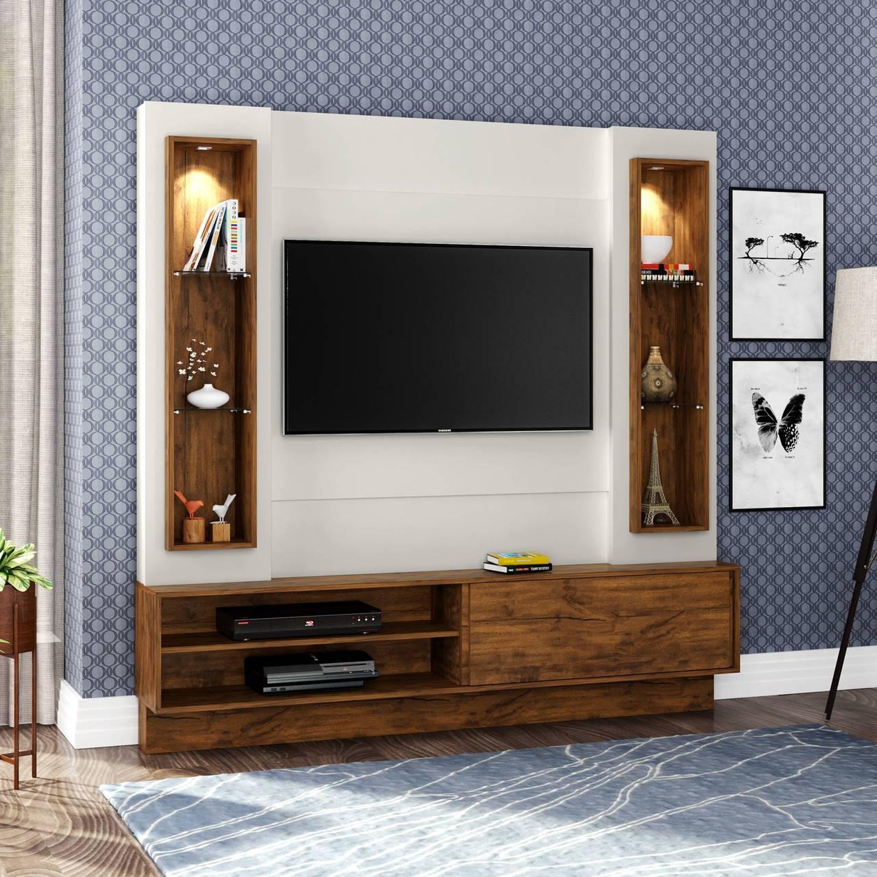 "Painel Home Suspenso p/ TV até 32"" com LED TB128L Dalla Costa Offwhite/Nobre"