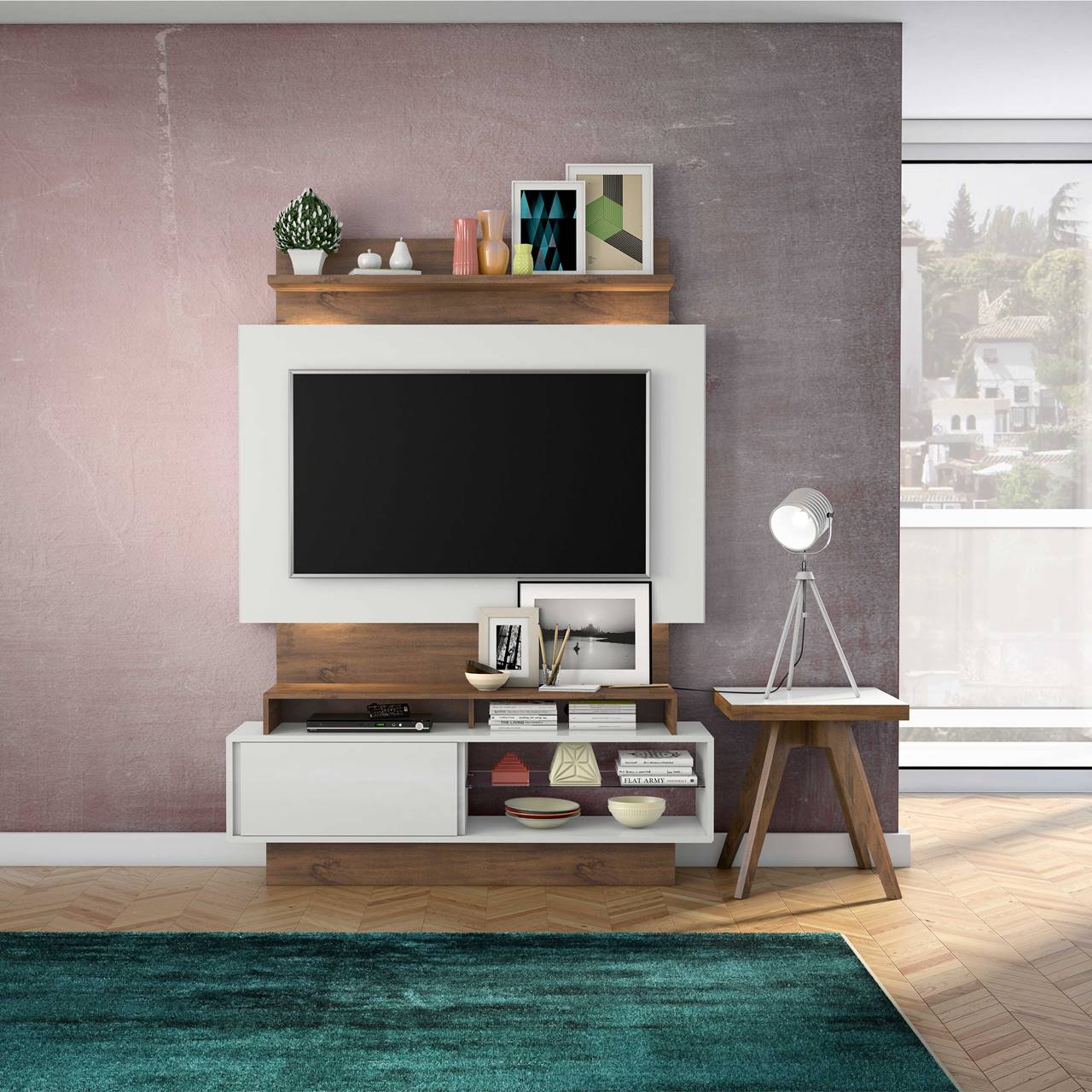 "Painel Home Suspenso p/ TV até 55"" com LED TB111L Dalla Costa Offwhite/Nobre"