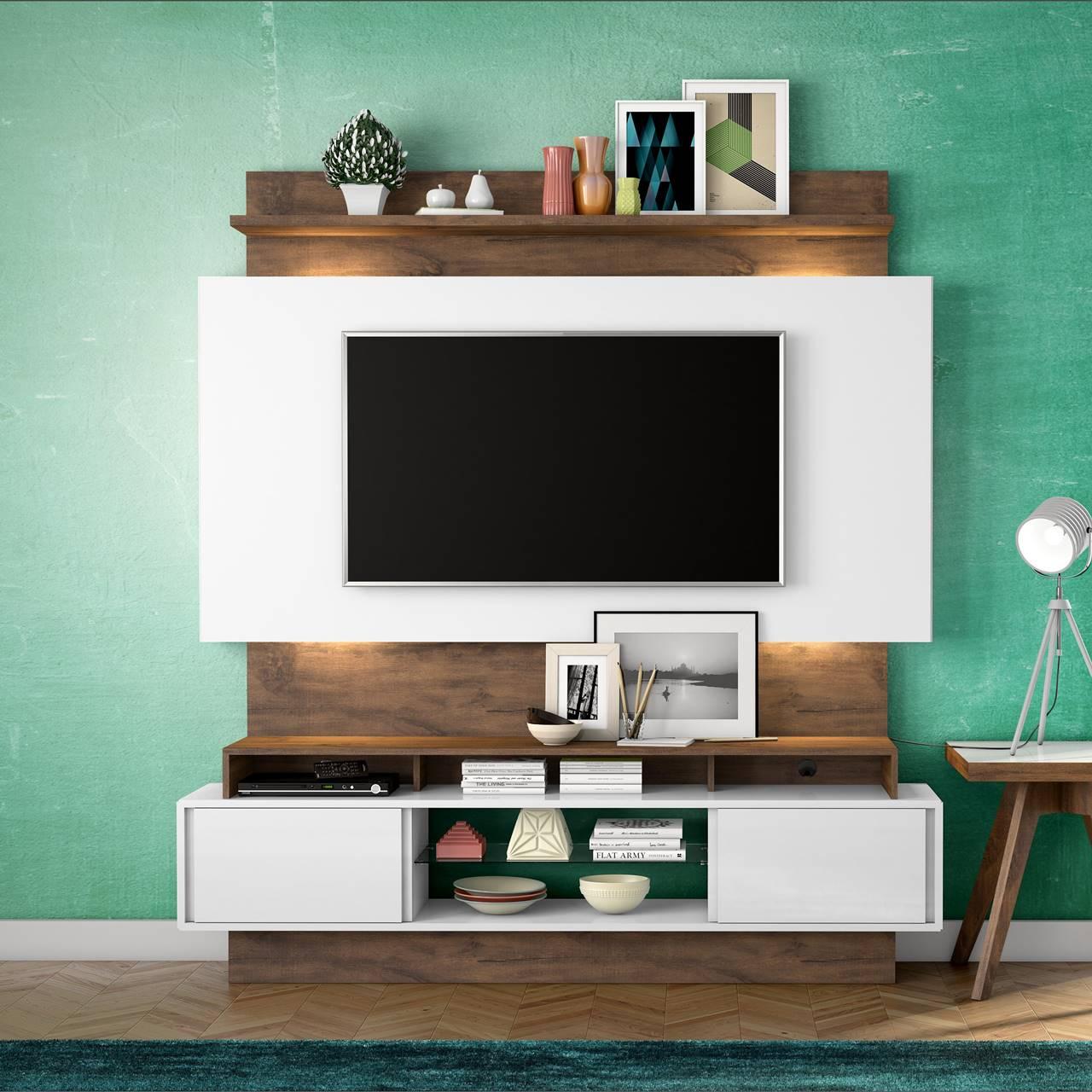 "Painel Home Suspenso p/ TV até 55"" com LED TB112L Dalla Costa Offwhite/Nobre"