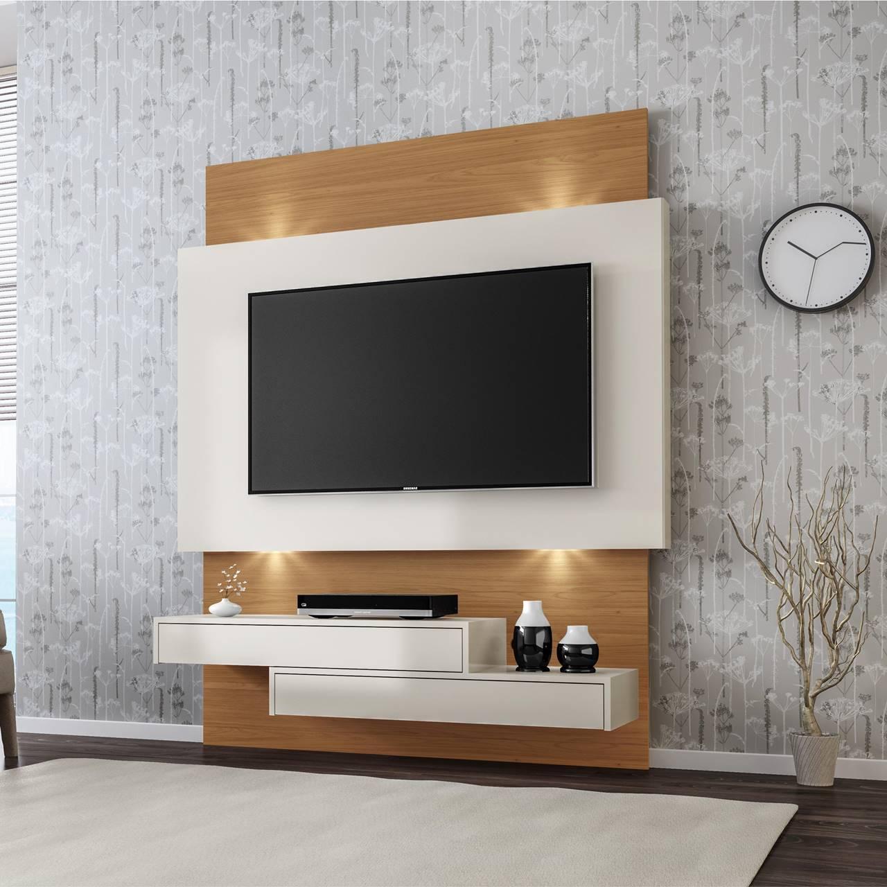 """Painel Home Suspenso p/ TV até 55"""" com LED TB120L Dalla Costa Offwhite/Freijó"""
