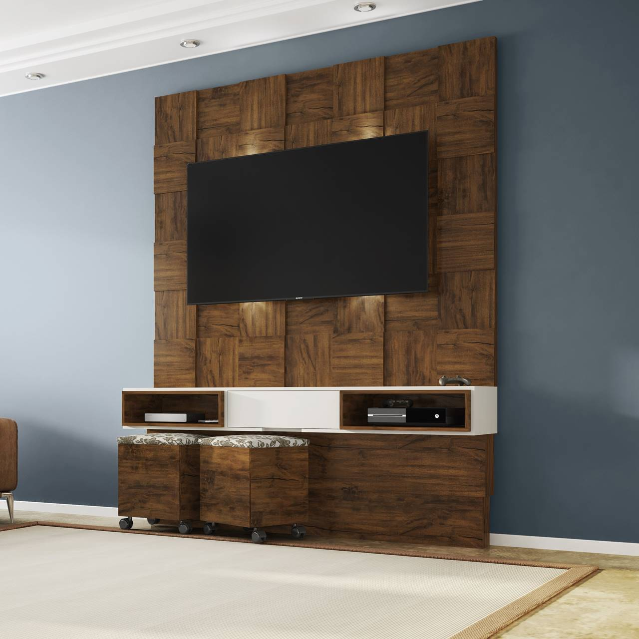 "Painel Home Suspenso p/ TV até 55"" com LED TB125L Dalla Costa Nobre/Offwhite"