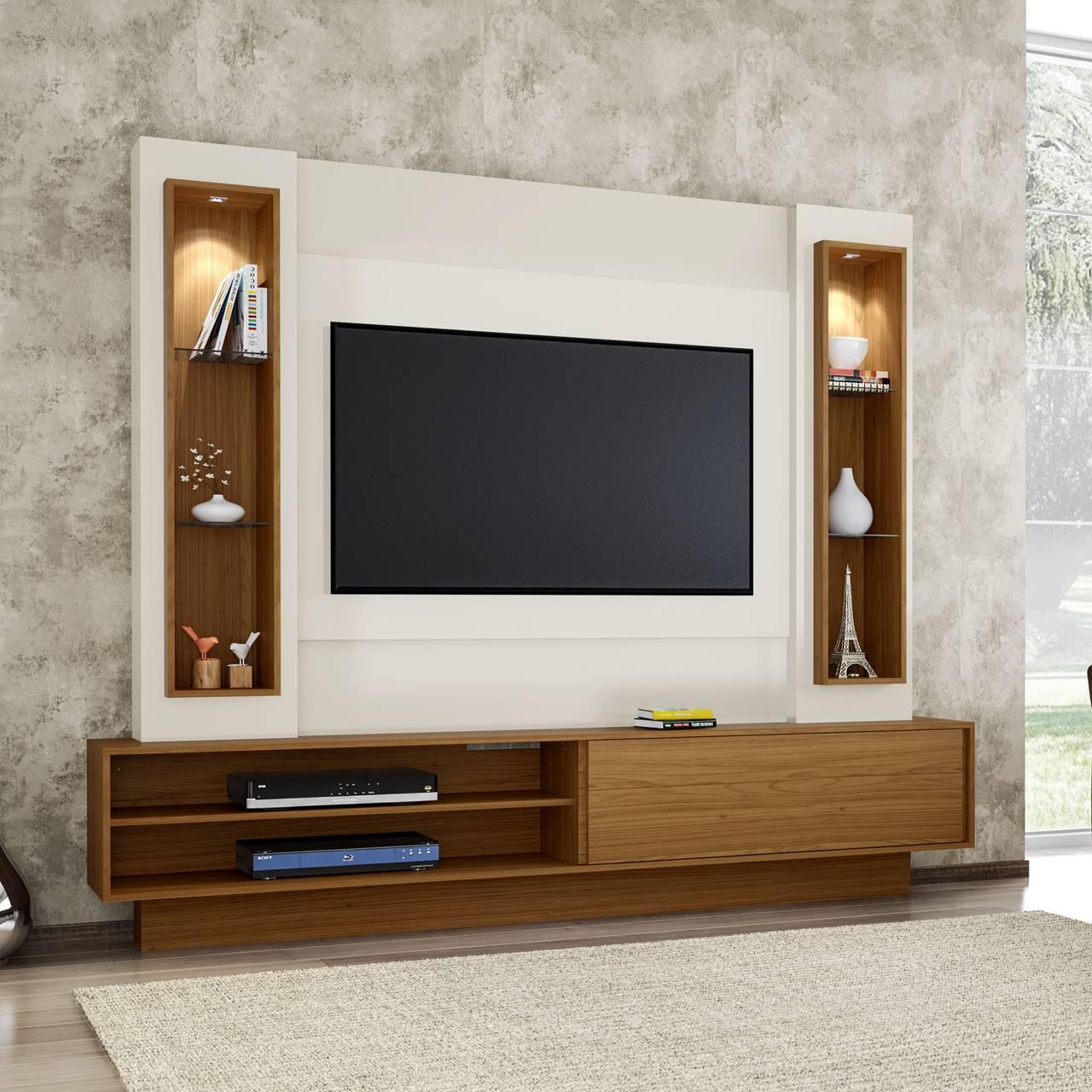 """Painel Home Suspenso p/ TV até 60"""" com LED TB129L Dalla Costa Offwhite/Freijó"""
