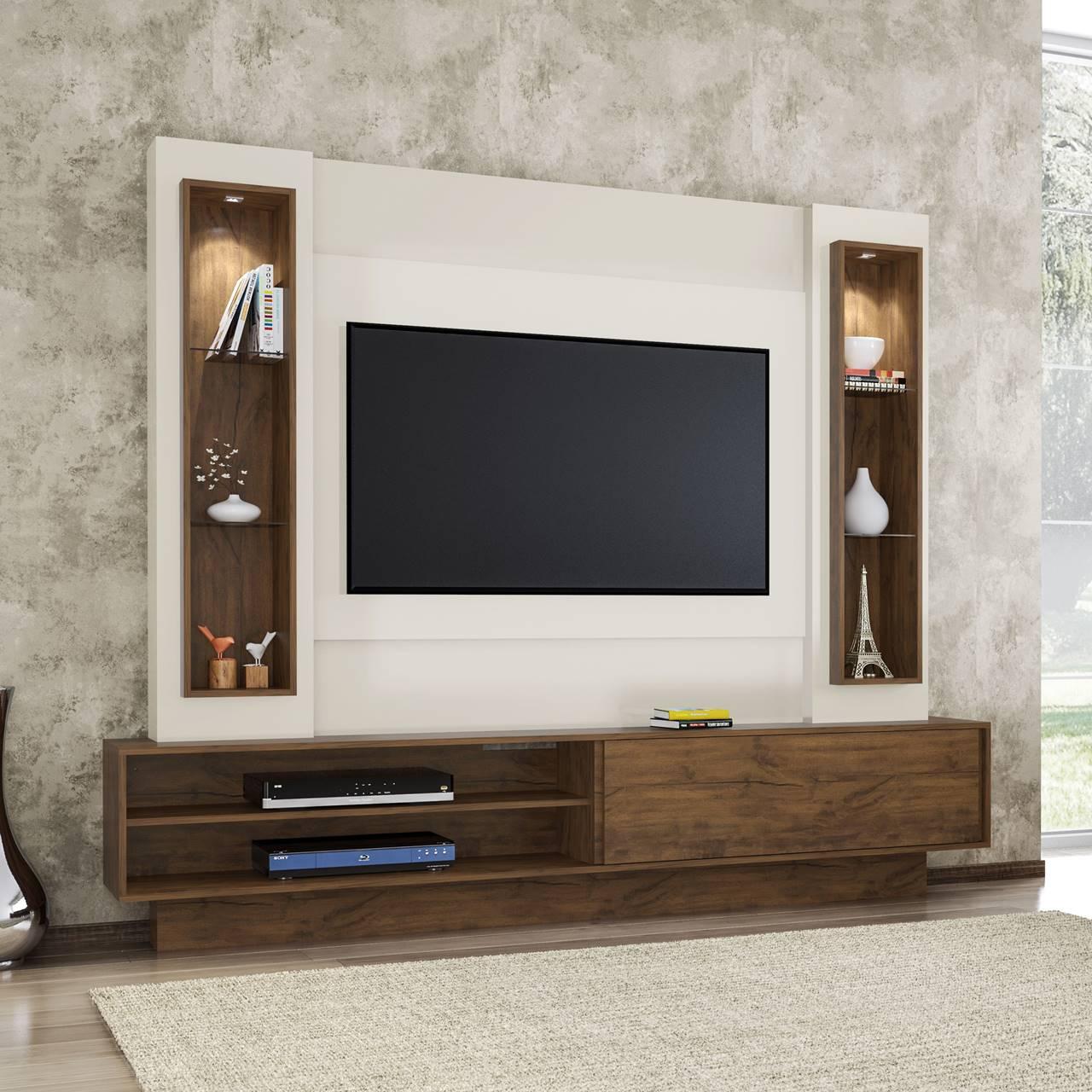 "Painel Home Suspenso p/ TV até 60"" com LED TB129L Dalla Costa Offwhite/Nobre"
