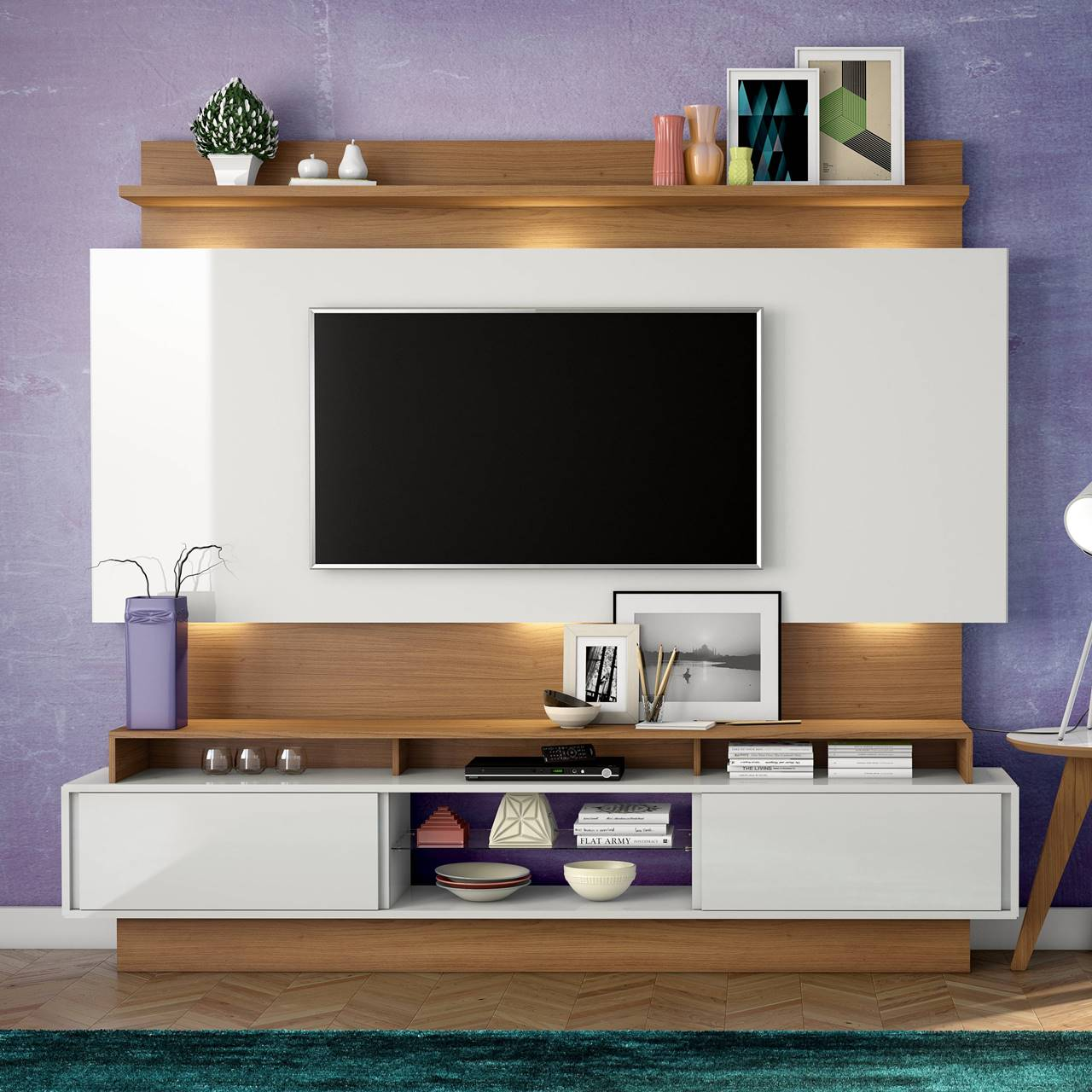 """Painel Home Suspenso p/ TV até 65"""" com LED TB113L Dalla Costa Offwhite/Freijó"""