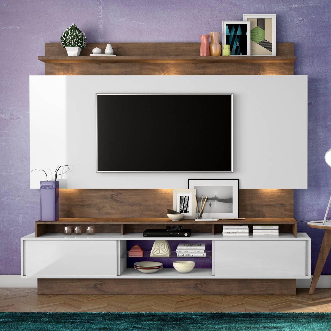 "Painel Home Suspenso p/ TV até 65"" com LED TB113L Dalla Costa Offwhite/Nobre"