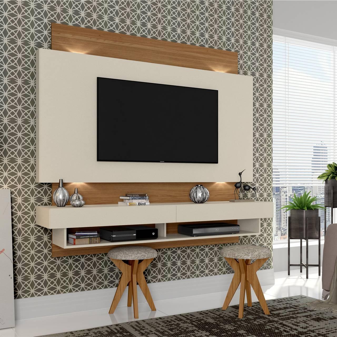"""Painel Home Suspenso p/ TV até 65"""" com LED TB115L Dalla Costa Offwhite/Freijó"""