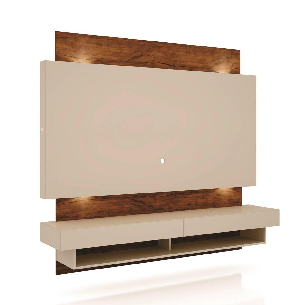 "Painel Home Suspenso p/ TV até 65"" com LED TB115L Dalla Costa Offwhite/Nobre"
