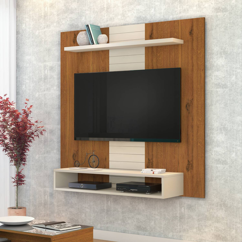 """Painel Home suspenso para TV 47"""" DJ Móveis Smart Rústico Terrara / Off White"""