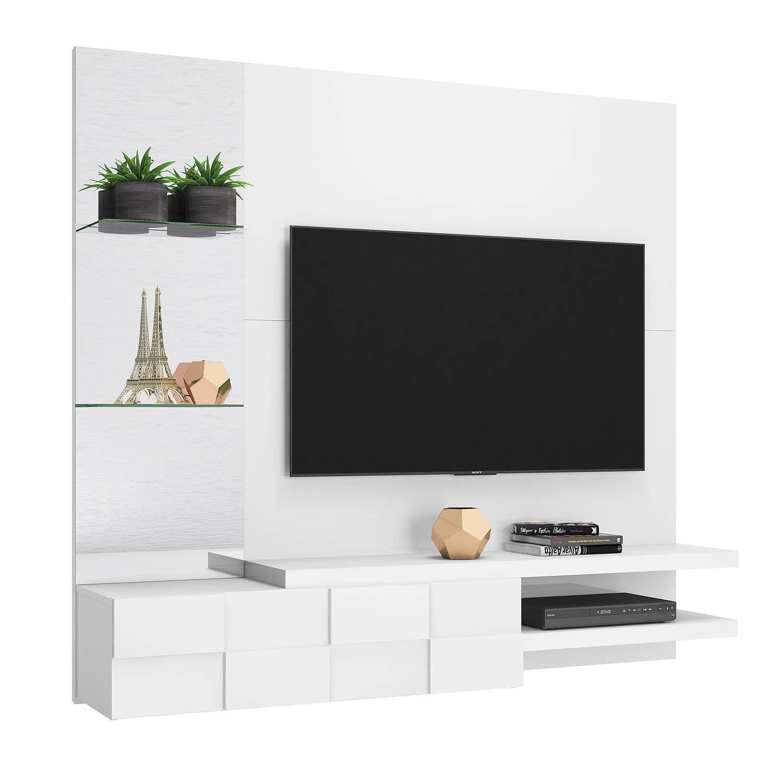 """Painel Home Suspenso para TV 55"""" 100% MDF DJ Móveis Turim Branco Brilho"""