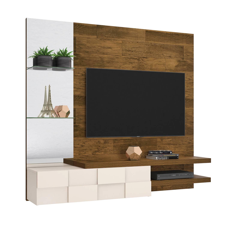 """Painel Home Suspenso para TV 55"""" 100% MDF DJ Móveis Turim Demolição / Off White"""