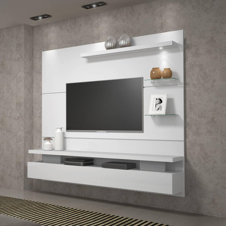 """Painel Home Suspenso para TV 65"""" c/ LED DJ Móveis Greco Branco Brilho"""