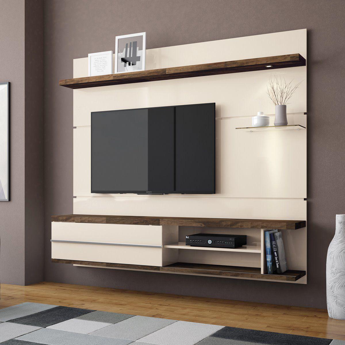 "Painel p/ TV 55"" Home Suspenso Epic HB Móveis Off White/Deck"