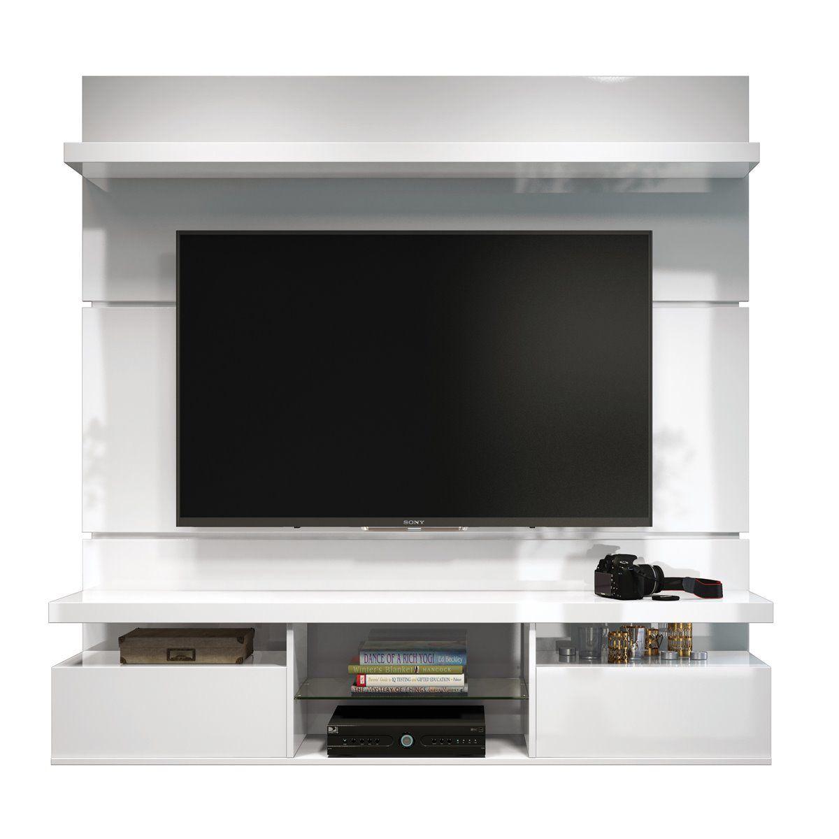 "Painel p/ TV 55"" Home Suspenso Livin 1.8 HB Móveis Branco"