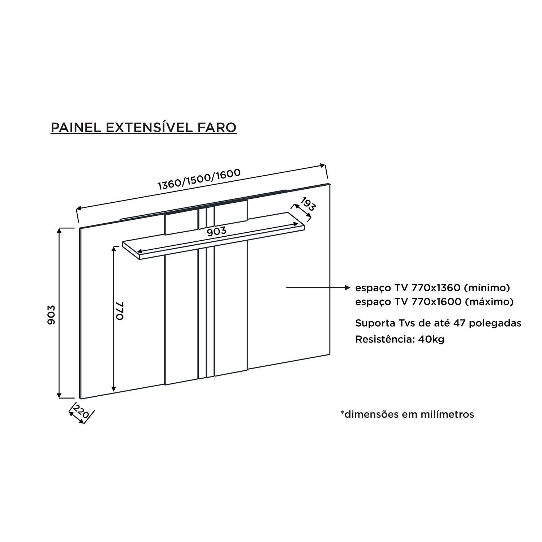 "Painel para TV 47"" Extensível c/ prateleira DJ Móveis Faro Rústico Terrara"