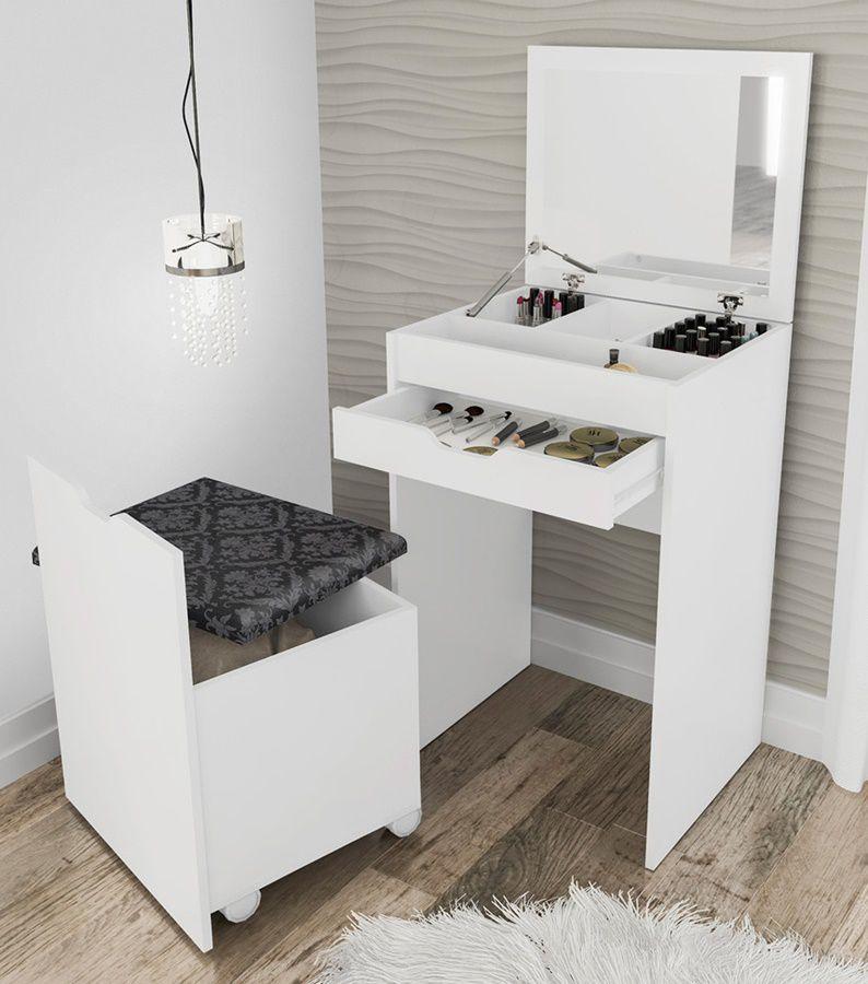 Penteadeira Compacta Branco/Tecido 369 PE2007 Tecnomobili