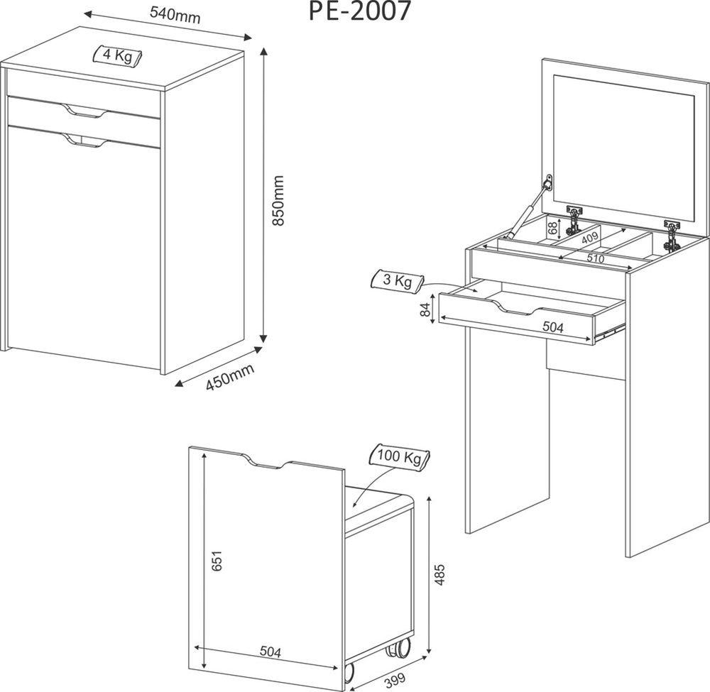 Penteadeira Compacta Branco/Tecido 408 PE2007 Tecnomobili