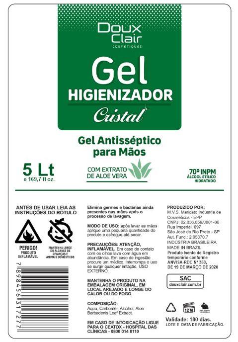 Álcool em Gel - 5 Litros - Doux Clair Cosmétiques  - Buzzy Brasil
