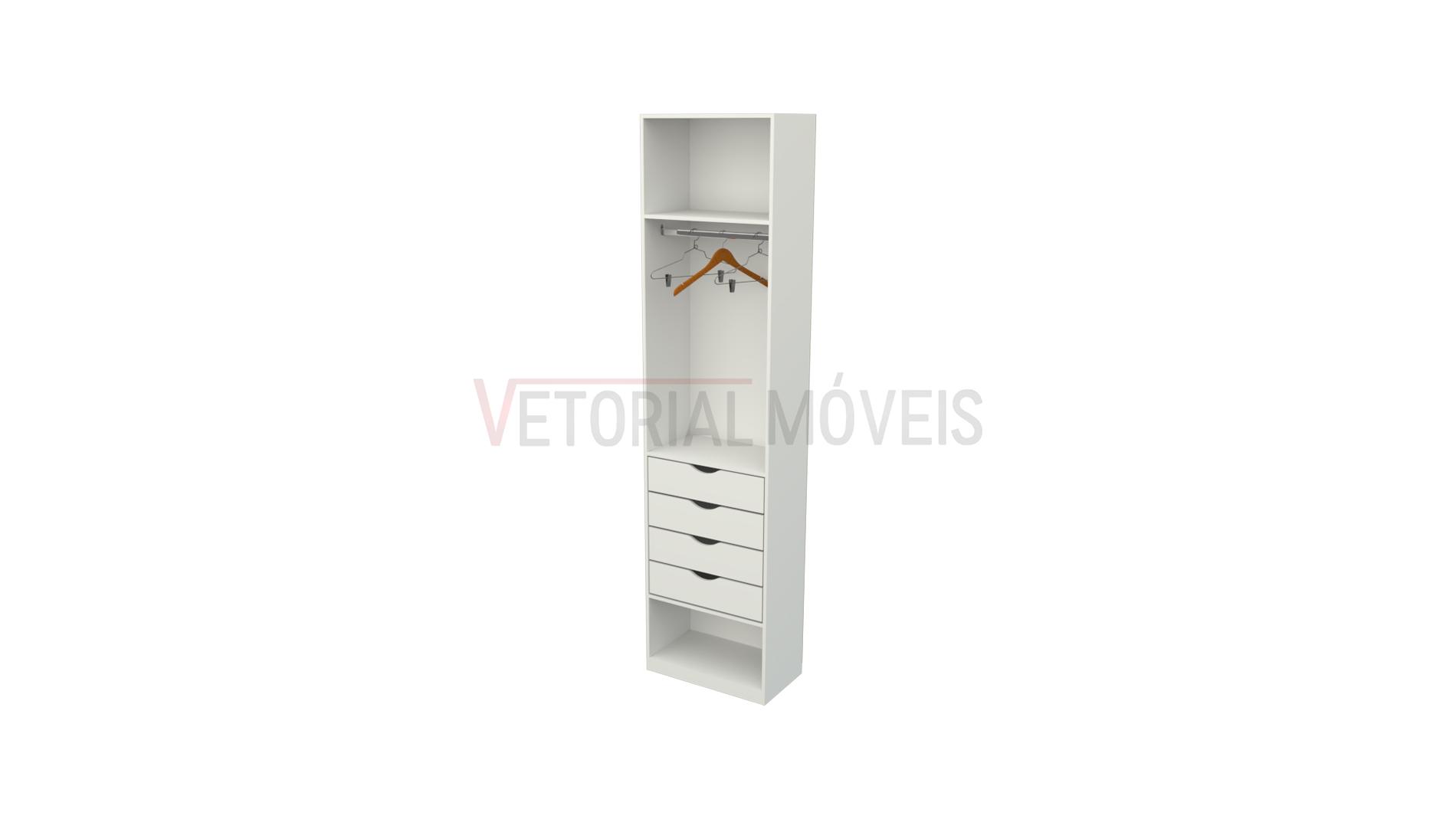Armário closet Mirela M51 (loja, quarto, gaveteiro, cabideiro)