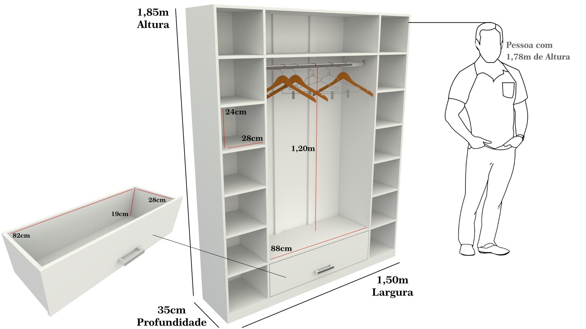 Armário Colmeia Cabideiro+armário Colmeia 100%mdf (closet)