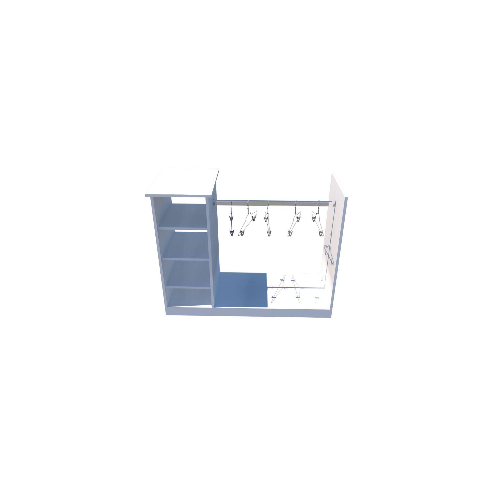 Balcão Cabideiro central M3 (arara, expositor, roupa, organizador, Loja)