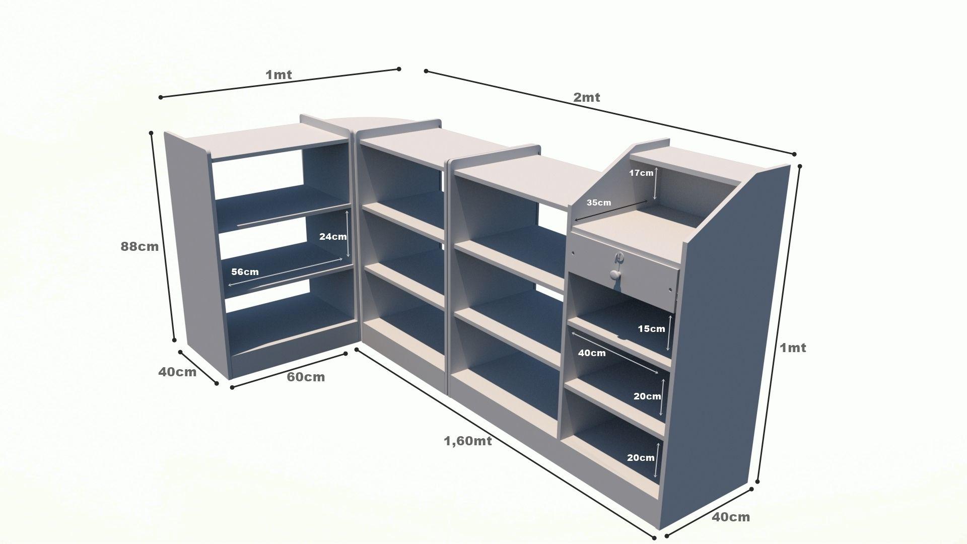 Balcão Caixa Vitrine Modular M2 (expositor, prateleira, atendimento, loja, pet)