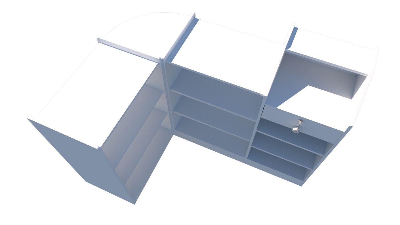 Balcão Caixa Vitrine Modular M1(pet, expositor, atendimento, prateleira, Loja)