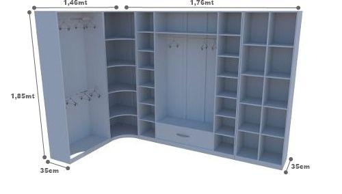 Kit Armário Closet Modulado M10 (colmeia, loja, Expositor, sapateira, roupa, organizador)