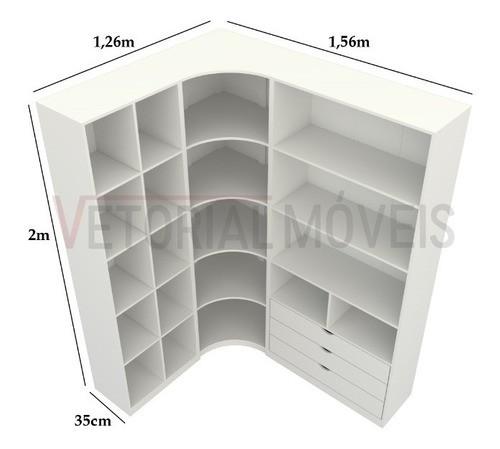 Kit Closet Loja Modulado Canto M86 100% Mdf