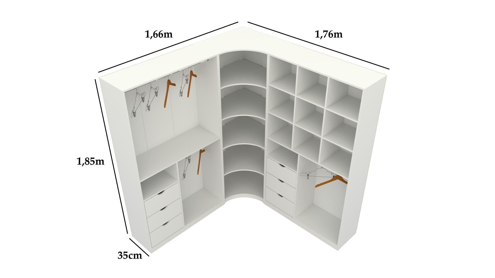 Kit Closet Modulado Armário Colmeia Cabideiro Canto M17