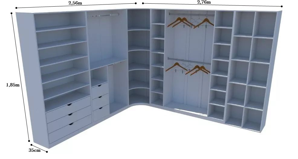 Kit Closet Modulado Armário Colmeia Cabideiro Canto M18