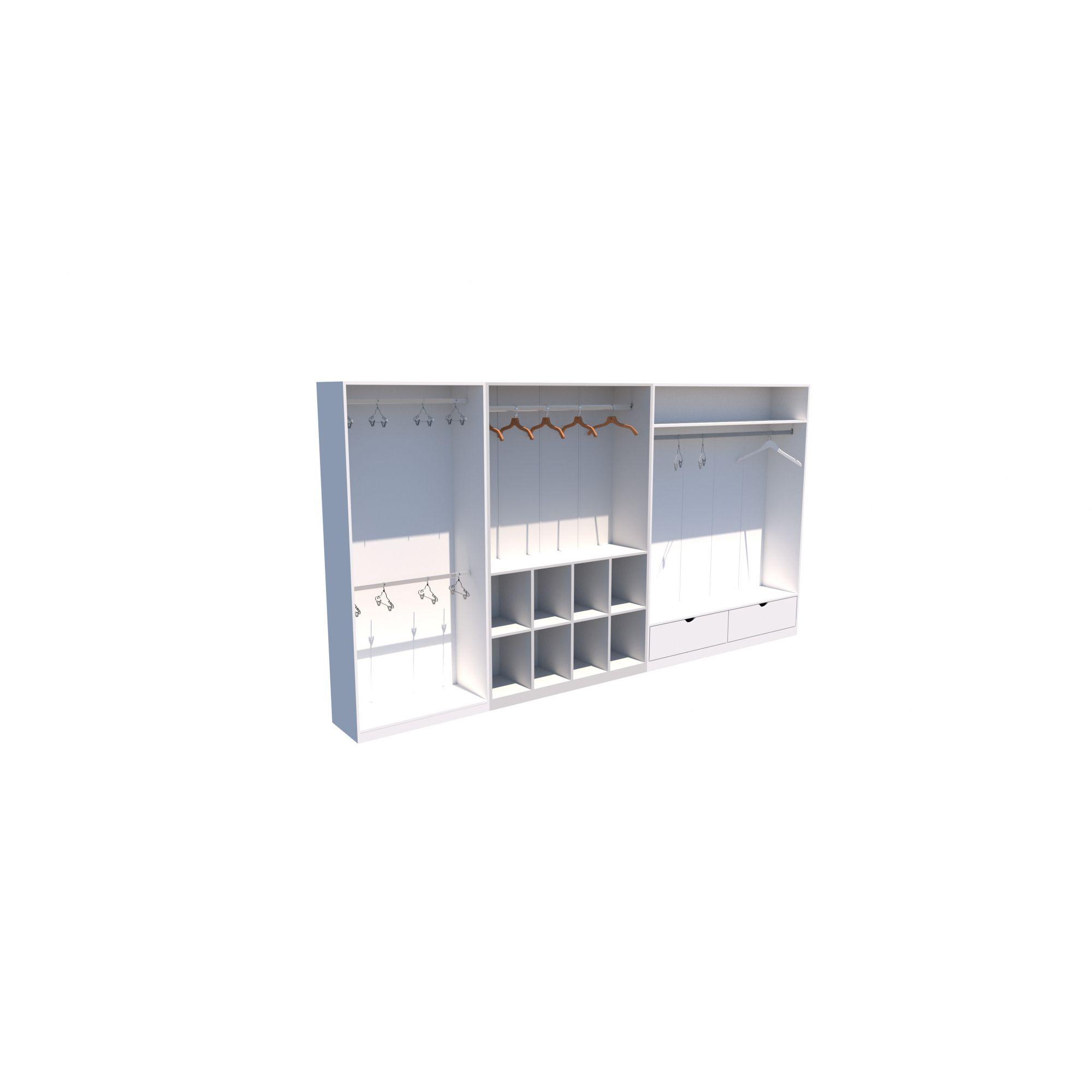 Kit Closet Ou Loja Armário Colmeia Cabideiro M16 100% Mdf