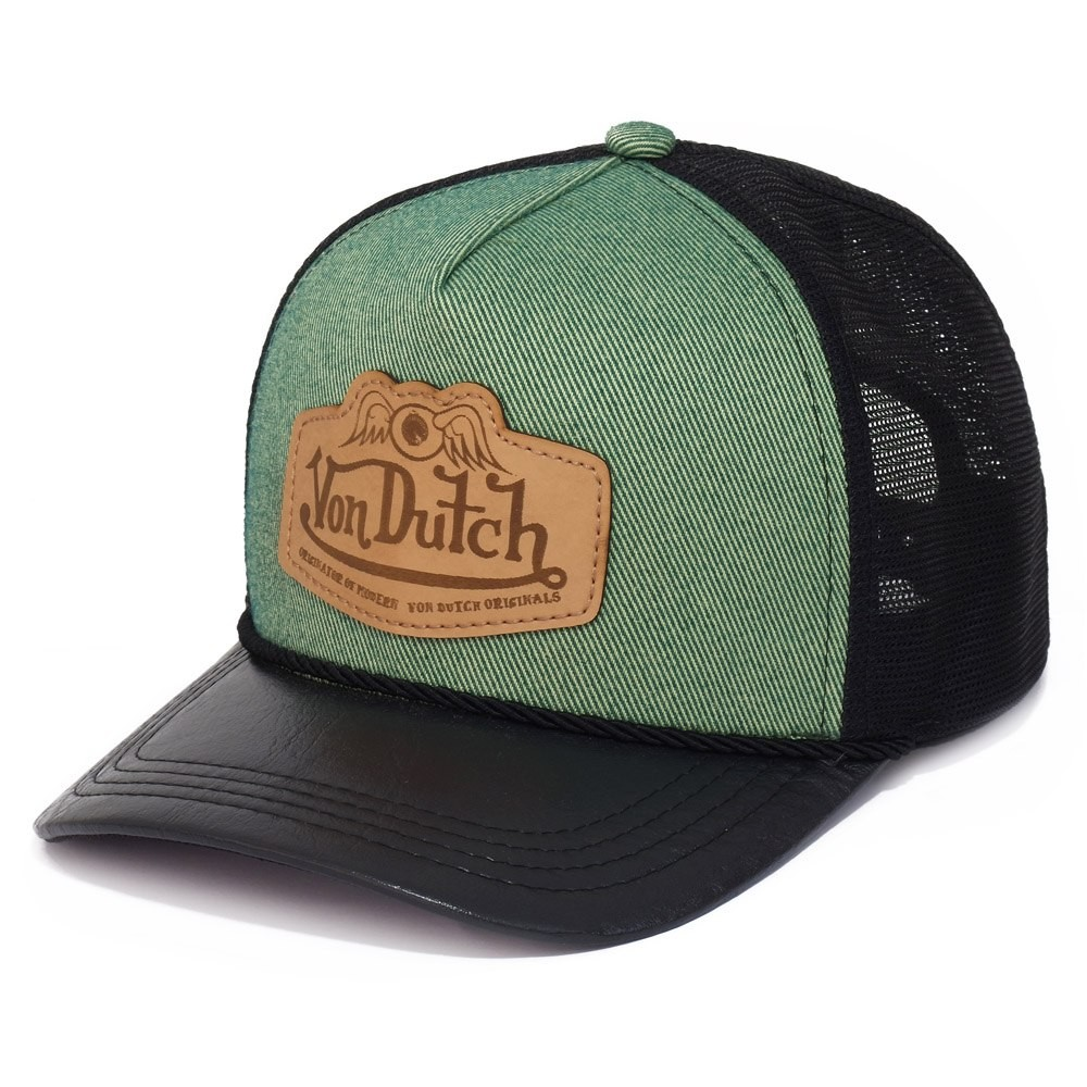 BONÉ VON DUTCH VERDE CUSTOMIZADO COM PATCH DE COURO GRAVADO A LASER.