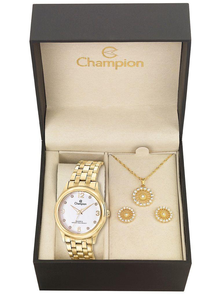 Relógio Feminino Kit Brincos e Colar Champion Passion Cn28991w Dourado