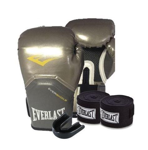 Kit Everlast Bandagem 108 inches Preta Protetor Bucal Simples Branco Luva  Elite Pro Style 12oz Prateada be468d20b6574