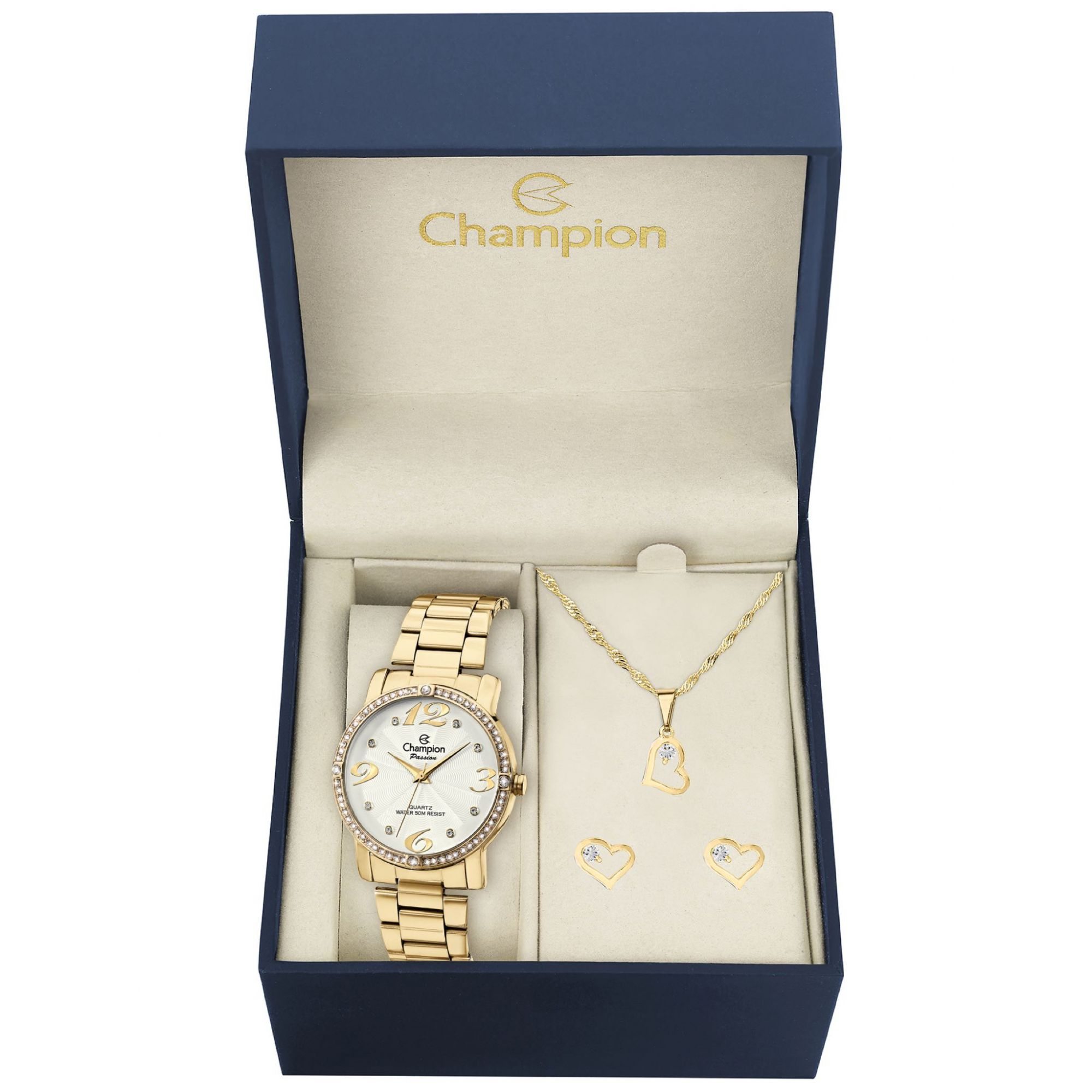 Relógio Feminino Kit Brincos e Colar Champion Passion Ch24768w Dourado